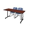 "60"" x 24"" Kobe Training Table- Cherry & 2 Zeng Stack Chairs- Blue"