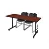 "60"" x 24"" Kobe Training Table- Cherry & 2 Zeng Stack Chairs- Black"