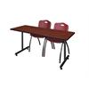 """60"""" x 24"""" Kobe Training Table- Cherry & 2 'M' Stack Chairs- Burgundy"""