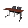 "60"" x 24"" Kobe Training Table- Cherry & 2 Mario Stack Chairs- Black"