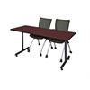 """60"""" x 24"""" Kobe Training Table- Mahogany & 2 Apprentice Chairs- Black"""