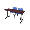 "60"" x 24"" Kobe Training Table- Mahogany & 2 'M' Stack Chairs- Blue"