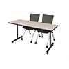 "60"" x 24"" Kobe Training Table- Maple & 2 Apprentice Chairs- Black"