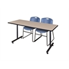 "66"" x 24"" Kobe Training Table- Beige & 2 Zeng Stack Chairs- Blue"
