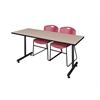 "66"" x 24"" Kobe Training Table- Beige & 2 Zeng Stack Chairs- Burgundy"