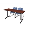 "66"" x 24"" Kobe Training Table- Cherry & 2 Zeng Stack Chairs- Blue"