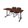 "66"" x 24"" Kobe Training Table- Cherry & 2 Zeng Stack Chairs- Black"