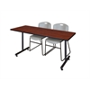 "66"" x 24"" Kobe Training Table- Cherry & 2 Zeng Stack Chairs- Grey"