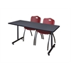 "66"" x 24"" Kobe Training Table- Grey & 2 'M' Stack Chairs- Burgundy"