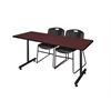 "66"" x 24"" Kobe Training Table- Mahogany & 2 Zeng Stack Chairs- Black"