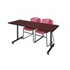"66"" x 24"" Kobe Training Table- Mahogany & 2 Zeng Stack Chairs- Burgundy"