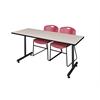 "66"" x 24"" Kobe Training Table- Maple & 2 Zeng Stack Chairs- Burgundy"
