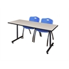 """66"""" x 24"""" Kobe Training Table- Maple & 2 'M' Stack Chairs- Blue"""