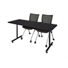 "72"" x 24"" Kobe Training Table- Mocha Walnut & 2 Apprentice Chairs- Black"