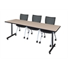 "84"" x 24"" Kobe Training Table- Beige & 3 Apprentice Chairs- Black"