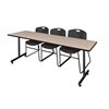"84"" x 24"" Kobe Training Table- Beige & 3 Zeng Stack Chairs- Black"