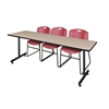 "84"" x 24"" Kobe Training Table- Beige & 3 Zeng Stack Chairs- Burgundy"