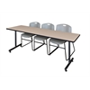 """84"""" x 24"""" Kobe Training Table- Beige & 3 Zeng Stack Chairs- Grey"""