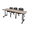 "84"" x 24"" Kobe Training Table- Beige & 3 'M' Stack Chairs- Black"
