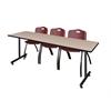 "84"" x 24"" Kobe Training Table- Beige & 3 'M' Stack Chairs- Burgundy"