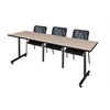 "84"" x 24"" Kobe Training Table- Beige & 3 Mario Stack Chairs- Black"