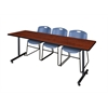 "84"" x 24"" Kobe Training Table- Cherry & 3 Zeng Stack Chairs- Blue"