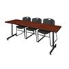 "84"" x 24"" Kobe Training Table- Cherry & 3 Zeng Stack Chairs- Black"