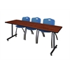 "84"" x 24"" Kobe Training Table- Cherry & 3 'M' Stack Chairs- Blue"
