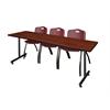 """84"""" x 24"""" Kobe Training Table- Cherry & 3 'M' Stack Chairs- Burgundy"""