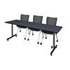 "84"" x 24"" Kobe Training Table- Grey & 3 Apprentice Chairs- Black"