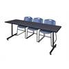 """84"""" x 24"""" Kobe Training Table- Grey & 3 Zeng Stack Chairs- Blue"""
