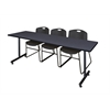 "84"" x 24"" Kobe Training Table- Grey & 3 Zeng Stack Chairs- Black"