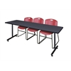 "84"" x 24"" Kobe Training Table- Grey & 3 Zeng Stack Chairs- Burgundy"