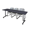 "84"" x 24"" Kobe Training Table- Grey & 3 Zeng Stack Chairs- Grey"