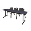 "84"" x 24"" Kobe Training Table- Grey & 3 'M' Stack Chairs- Black"