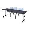 "84"" x 24"" Kobe Training Table- Grey & 3 'M' Stack Chairs- Grey"