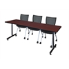 "84"" x 24"" Kobe Training Table- Mahogany & 3 Apprentice Chairs- Black"