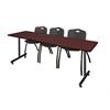 "84"" x 24"" Kobe Training Table- Mahogany & 3 'M' Stack Chairs- Black"
