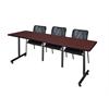 """84"""" x 24"""" Kobe Training Table- Mahogany & 3 Mario Stack Chairs- Black"""