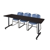 "84"" x 24"" Kobe Training Table- Mocha Walnut & 3 Zeng Stack Chairs- Blue"