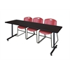 "84"" x 24"" Kobe Training Table- Mocha Walnut & 3 Zeng Stack Chairs- Burgundy"