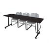 "84"" x 24"" Kobe Training Table- Mocha Walnut & 3 Zeng Stack Chairs- Grey"