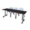 "84"" x 24"" Kobe Training Table- Mocha Walnut & 3 'M' Stack Chairs- Grey"