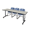 "84"" x 24"" Kobe Training Table- Maple & 3 Zeng Stack Chairs- Blue"