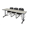 "84"" x 24"" Kobe Training Table- Maple & 3 Zeng Stack Chairs- Black"
