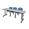 "84"" x 24"" Kobe Training Table- Maple & 3 'M' Stack Chairs- Blue"