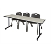 "84"" x 24"" Kobe Training Table- Maple & 3 'M' Stack Chairs- Black"