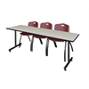 "84"" x 24"" Kobe Training Table- Maple & 3 'M' Stack Chairs- Burgundy"