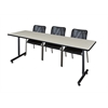 "84"" x 24"" Kobe Training Table- Maple & 3 Mario Stack Chairs- Black"