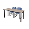 "60"" x 24"" Kee Training Table- Beige/ Black & 2 Zeng Stack Chairs- Blue"